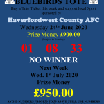 Bluebirds Tote has No Winners